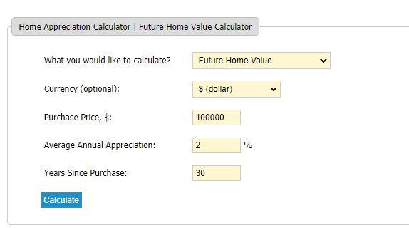 Home Appreciation Calculator Example 1