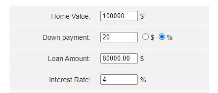 Mortgage calculator inputs 1